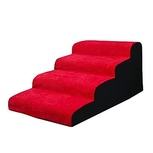 Escaleras y escalones Rampa fácil for escaleras de Mascotas for sofá Cama de Gato Mediano for Perros, Escalera Antideslizante de 4 escalones con Cubierta extraíble de hasta 110 LB, Rojo