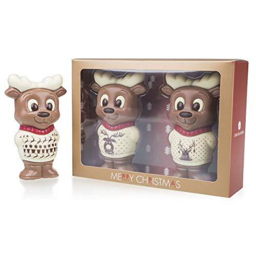 Zwei ChocoRentiere - zwei Schokoladenfiguren in Form von Rentieren - Schokolade - Weihnachten - Geschenk