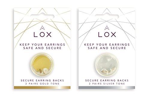 Lox Securelocking oorhaken, set van 2 pairs in totaal (2 paar goud en 2 paar zilver in de verpakking)