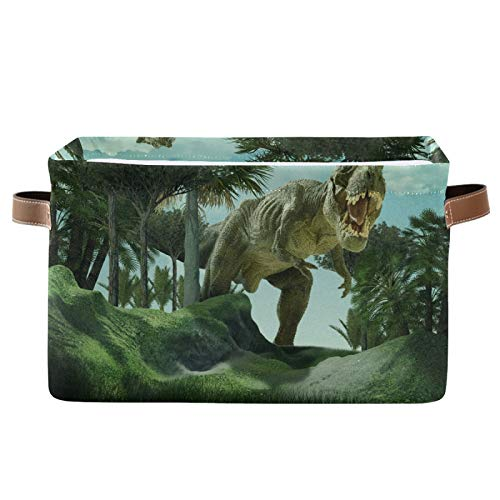 AUUXVA Ombra Storage Basket Giant Jurassic Dinosaur Storage Cube Box Durable Canvas Collapsible Toy Basket Organizer Bin with Handles for Shelf Closet Bedroom Home Office