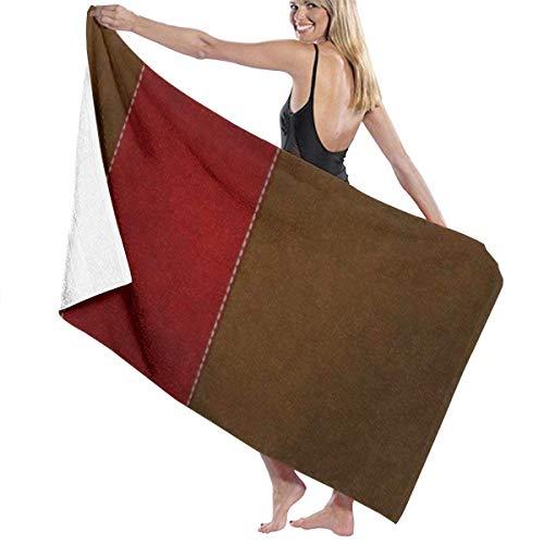 LREFON Toallas Raya roja sobre marrón para la Ducha,Toallas de baño, Fitness, Deportes al Aire Libre