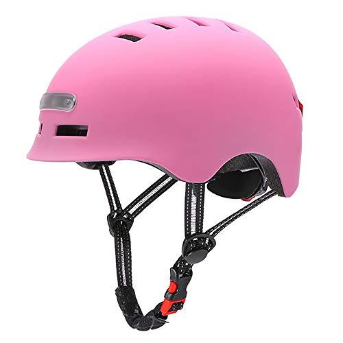 Casco De Bicicleta Adultos Protección De Bici Ciclismo USB Recargable Luz Urban Commuter Ligero Casco De Multideporte con Certificado CE Tamaño Ajustable para Hombres Mujeres