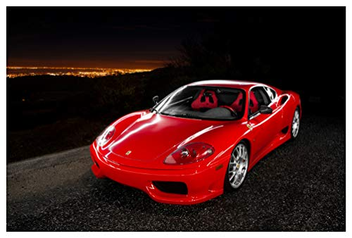 """Ferrari 360 Challenge Stradale (2003-2004) Car Print on 10 Mil Archival Satin Paper Red Front Side Static View (11""""x17"""")"""