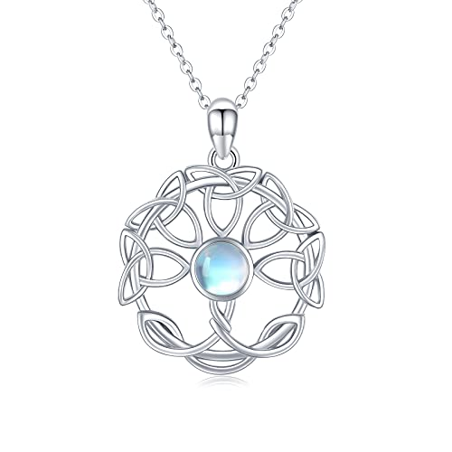Collar celta del árbol de la vida, plata de ley 925, piedra lunar, colgante del árbol de la vida, regalo de cumpleaños, para mujeres y niñas
