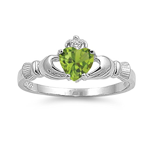 925 Sterling Silver Faceted Natural Genuine Green Peridot Claddagh Heart Promise Ring Size 9