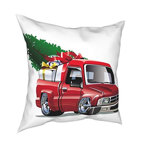 iksrgfvb Pillow Case Cushion Covers Red Truck Christmas Vector Square Pillowcases for Living Room Sofa 18 x 18 inch