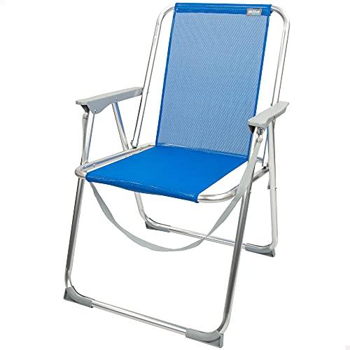 Aktive 62606 - Silla de playa azul plegable