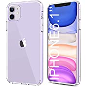 HOMEMO Phone Case for iPhone 11 2019 Solid Acrylic Back Reinforced Soft TPU Frame Ultra Clear Slim Shock Absorption Bumper Anti Scratch Fingerprint Oil Stain Back Cover