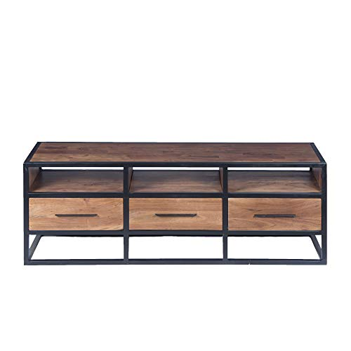 HomeRoots Acacia Wood and Metal Spacious Acacia Wood Tv Unit with Metal Frame, Walnut Brown and Black