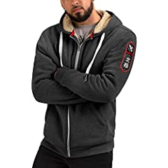 MATERIAL: Soft 100% cotton with warm 100% Polyester inner lining. EXTRA WARM LINING: The Heavyweight Hoodie is lined with sherpa fleece all throughout the sleeves, hood, and even pockets, keeping you warm and prepared for the elements. YOUR NEW GO-T...