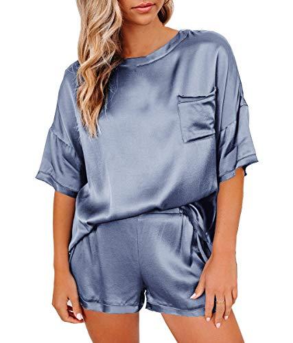 YIYO 2 piezas de pijama de seda satinada para mujer, ropa de dormir suave, color liso, ropa de dormir de manga corta irregular, Gris azul, L