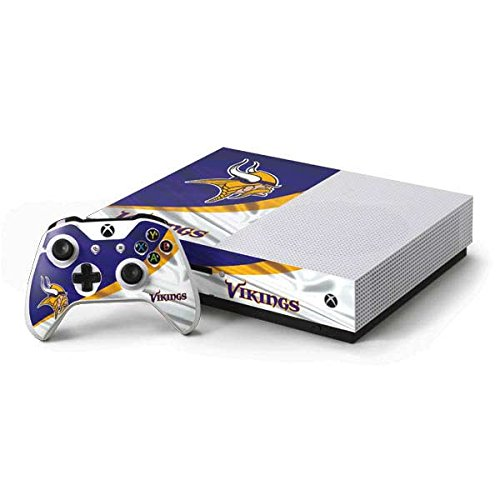 Skinit Decal Gaming Skin for Xbox One S Console and Controller Bundle - Officially Licensed NFL Minnesota Vikings Design