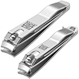 Zaflar 2Pc Nail Clippers With Nail File, Large Stainless Steel Fingernail Toenail Clipper