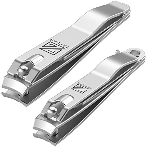 Zaflar 2Pc Nail Clippers With Nail File, Large Stainless Steel Fingernail Toenail Clipper Heavy Duty Nail Cutter For Men And Women