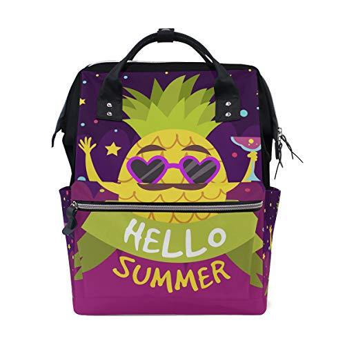 Alinlo Hello Summer mignon Ananas momie Diaper Sacs Fourre-tout Sacs Grande capacité multifonction Sac à dos pour voyage
