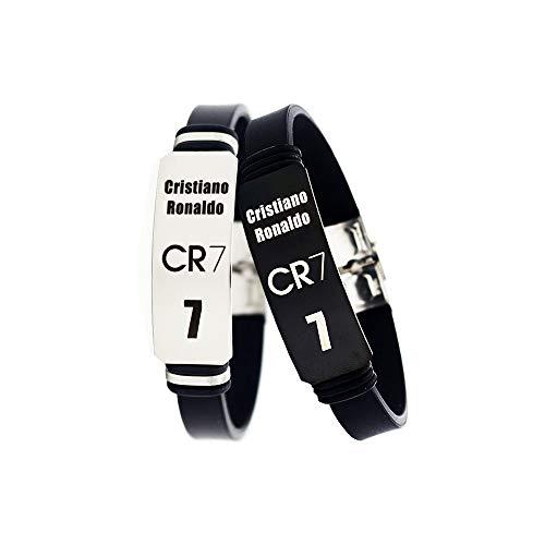Fußball Cristiano Ronaldo inspirierende persönliche Logo verstellbare Armbänder CR7 Edelstahl Sport Silikon Armband 2 Stück