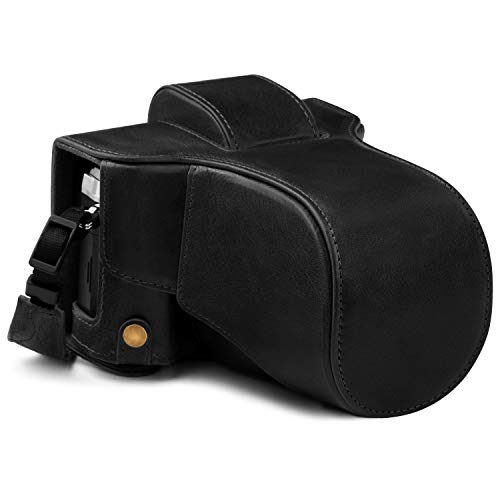 MegaGear Ever Ready MG1862 - Funda de Piel para cámara Olympus OM-D E-M5 Mark III (14-150 mm), Color Negro