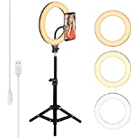 Tusin LED Ringlight Adjustable Phone Holder With Tripod Stand & 10