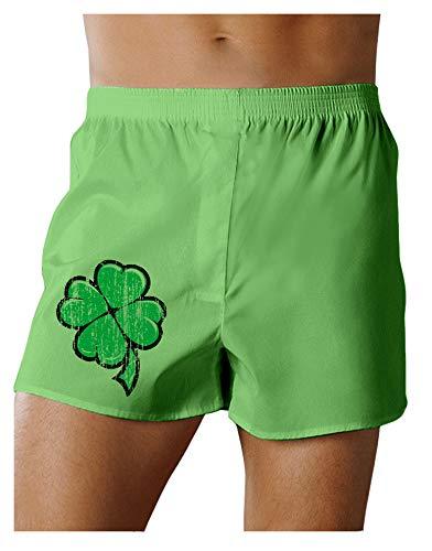 Cartoon Shamrock Clover - St Patricks Day Boxers Shorts - Vibrant Green- Large