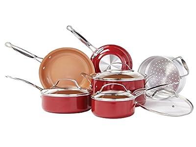 BulbHead (10824) Red Copper 10 PC Copper-Infused Ceramic Non-Stick Cookware Set