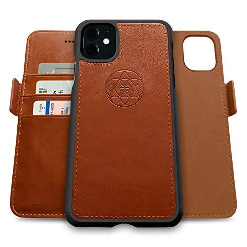 Dreem Fibonacci 2in1 Handyhülle Flipcase für iPhone 11   Magnetisches iPhone Hülle   TPU Etui Lederhülle Schutzhülle, RFID Schutz, Veganes Kunstleder, Geschenkbox   Karamellbraun