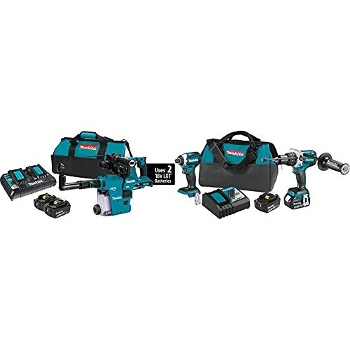 Makita XRH10PTW 18-Volt X2 LXT Brushless Cordless 1-1/8 in Rotary Hammer Kit w/HEPA Dust Extractor AFT AWS Capable (5.0Ah) with XT268T 18V LXT Lithium-Ion Brushless Cordless 2 Pc. Combo Kit (5.0Ah)