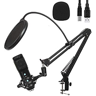 Podcast Usb PC Microphone Kit With Adjustable Arm Desk Stand | Condenser Mic, Plug and Play USB connection, Noise Reduction, Volume, Echo Control, 3.5 Jack audio output, Vlogging, Streaming, Recording