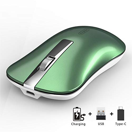 Wireless Computer Mouse, Uiosmuph G9 Slim Silent Wireless Rechargeable Mouse with USB Receiver & Type C Adapter, 2.4G USB Optical Wireless Mouse for Laptop, PC, Desktop, MacBook (Blacklish Green)
