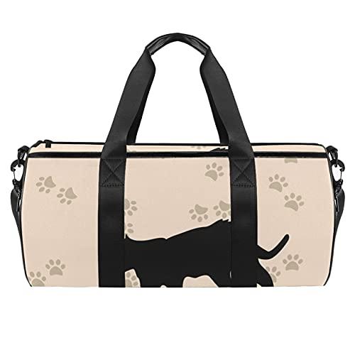 Silhouette of Cat Sports - Borsone cilindrico da viaggio, con tasca bagnata, leggera, da viaggio, con tracolla per uomo e donna
