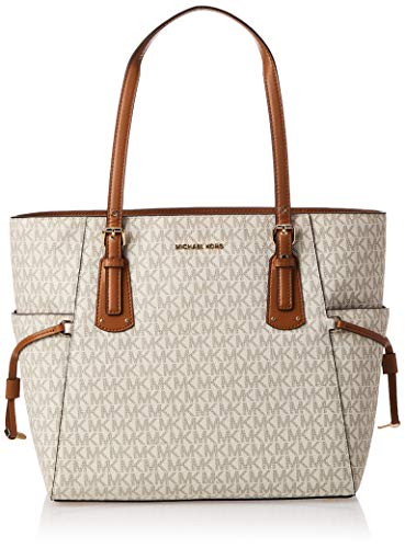 "MK Signature coated canvas; Gold-tone hardware Measures 14.75"" W x 11"" H x 6.25"" D; 8.5"" handle drop One back zip pocket, two back slip pockets, one center zip compartment, and six front slip pockets inside Fits up to approx. 13"" laptop Open top"