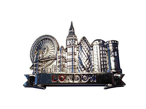 Imán para nevera de metal de color plateado, texto en rojo, blanco, azul, iconos, ojo, puente de la torre, Big Ben, pepinillo, cabina de teléfono, buzón de correos, recuerdo británico del Reino Unido