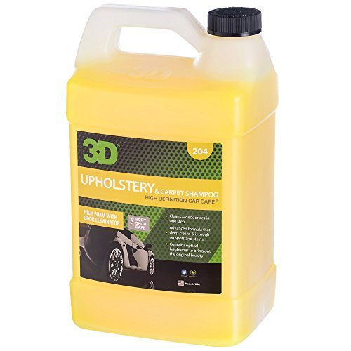 3D Upholstery & Carpet Shampoo | High Foam Stain Remover | Clean & Deoderize | Odor Eliminator | Made in USA | All Natural | No Harmful Chemicals (Gallon)