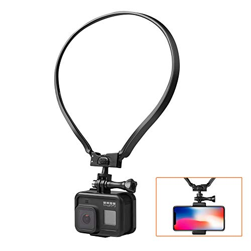 Betapleon POV/VLOG Camera Selfie Neck Holder Mount for Gopro Hero 4 5 6 7 8 9 AKASO Action Camera and Cell Phone Video Shoot Accessories for iPhone 11 7 8 Plus