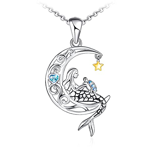 Sianilvera 925 Sterling Silver Mermaid with Sea Turtle Crescent Moon Star Necklace Pendant Gifts for Girls Women Daughter Girlfriend