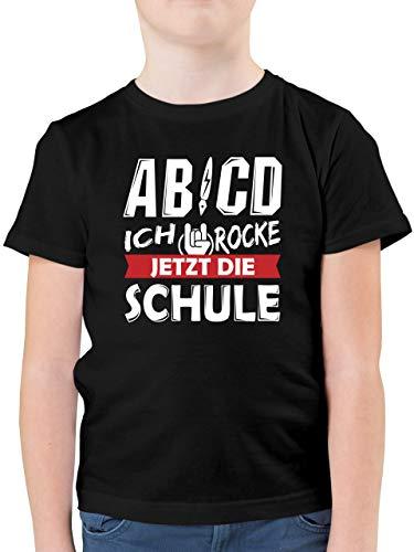 Einschulung und Schulanfang - ABCD Ich Rocke jetzt die Schule - 140 (9/11 Jahre) - Schwarz - Shirt Schulanfang Junge ABCD Rock - F130K - Kinder Tshirts und T-Shirt für Jungen