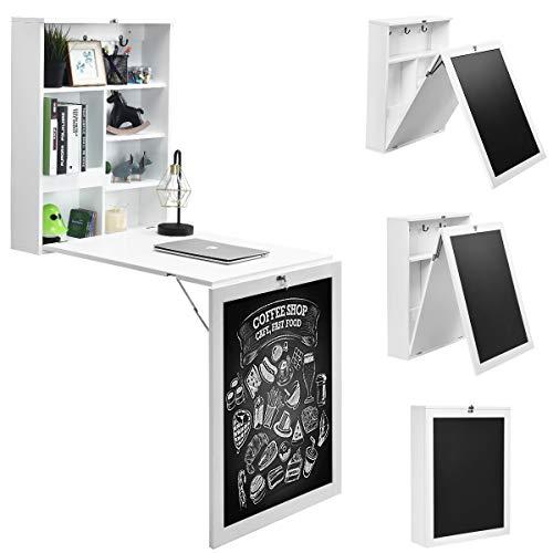 GOPLUS Klappbarer Wandtisch, Multifunktionaler Schreibtisch mit Tafel & Regal, Robuster Wandklapptisch aus hochwertigem MDF, für Esszimmer, Küche, Wohnzimmer, Büro, Farbwahl (Weiß)