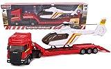 Toyland - Transportador de superficie plana Scania con helicóptero - Escala 1:48 - Rueda libre - Juguetes para vehículos de transporte - Artículos coleccionables para vehículos - Juguetes para niños (Camión Rojo / Helicóptero Blanco)