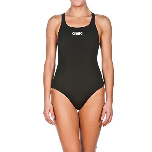 arena Damen Sport Badeanzug Solid Swim Pro (Schnelltrocknend, UV-Schutz UPF 50+, Chlorresistent), Black-White (55), 44
