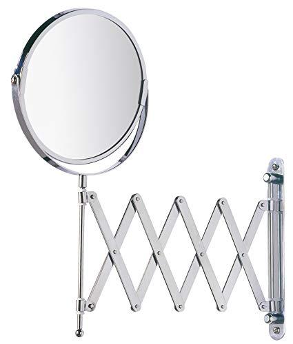 WENKO Espejo mural para cosmética telescópico - orientable, superficie de espejo ø 16 cm 300 % aumento, Acero, 19 x 38.5 x 50 cm, Cromo