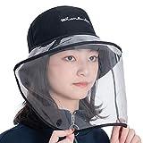 doce flores レディースバイザー ハット 帽子 使い方2way フェイスカバー つば広 取り外し可能 レディースハット 漁師帽 えいご-ブラック