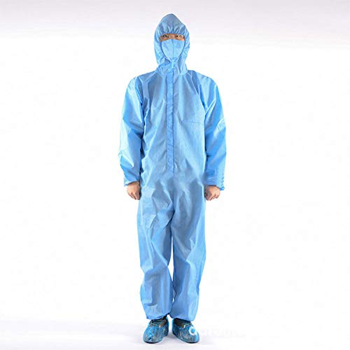 YZZ Indumenti Protettivi Abito Indumenti di Protezione Chimica Indumenti Protettivi Forniture Ospedaliere A Tenuta Stagna,Blu,185