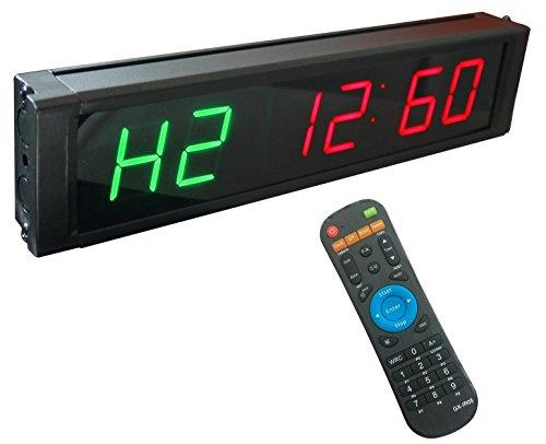 GANXIN - Temporizador con pantalla LED, altura de 2,5 cm y 6 dígitos para modos de intervalo de tiempo; reloj en tiempo real de 12/24 horas y cronómetro por control remoto