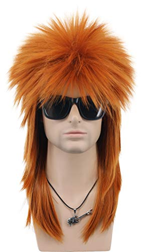 VGbeaty Men and Women Long Straight Wig 70s 80s Rocker Punk Rock Disco Mullet Wig (Orange)