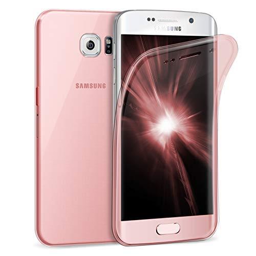 ZhinkArts Handy Hülle für Samsung Galaxy S6 Edge - Full Body 360 Grad TPU Silikon Crystal Case - Komplett Schutzhülle Cover in Rosa Clear