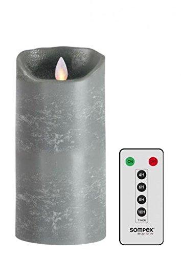 Sompex 35705 Flame Bougie LED en cire véritable Gris Lot de 8 x 18 cm avec télécommande