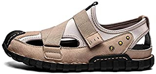 LSWL Summer New Style Baotou Sandals Leather Men's Wild Fashion Trend Outdoor Casual Shoes Soft Bottom Wear Beach Shoes (Color : Sand color, Shoe Size : 48)