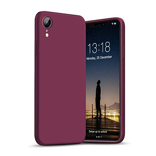 """GOODVISH Compatible con iPhone XR Case 6.1"""" Funda de Silicona Líquida Ultra Delgada Protección de la Pantalla y la Cámara Especial Diseño de Borde Recto Disipación de Calor Rápido (Rojo Vino)"""