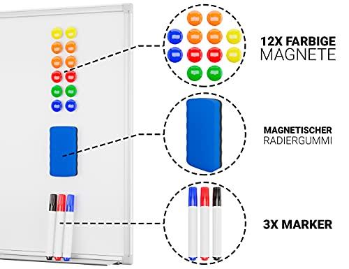Alaskaprint Magnetisches Whiteboard Magnetwand magnettafel beschreibbar mit Alurahmen inklusive 3 Stiftablage, 12 Pinnwand Tafel und Schwamm 60 cm x 45 cm (B x H) - 4
