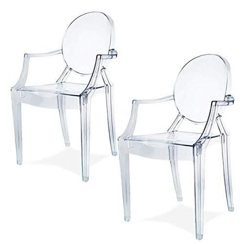 Chairs4you Spirit Eszzimmerstuhle 2er Set Design Stuhl mit Armlehnen Transparent Hochwertig Verarbeitung-Komfortables Sitzen Transparent