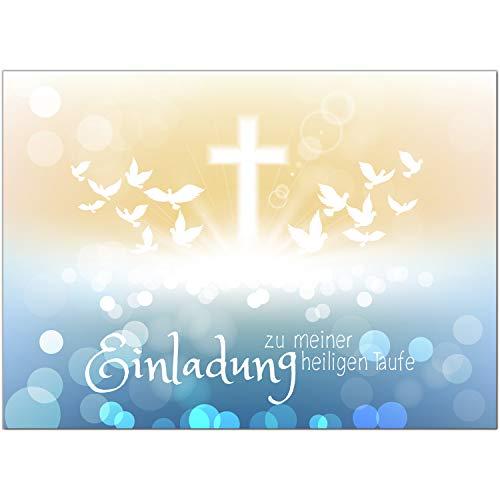 15 x Einladung zur Taufe/Einladungskarten mit Umschlag im Set/Motiv: Zauberhafter Verlauf Tauben/Baby Taufkarte/Grußkarte/Postkarte /